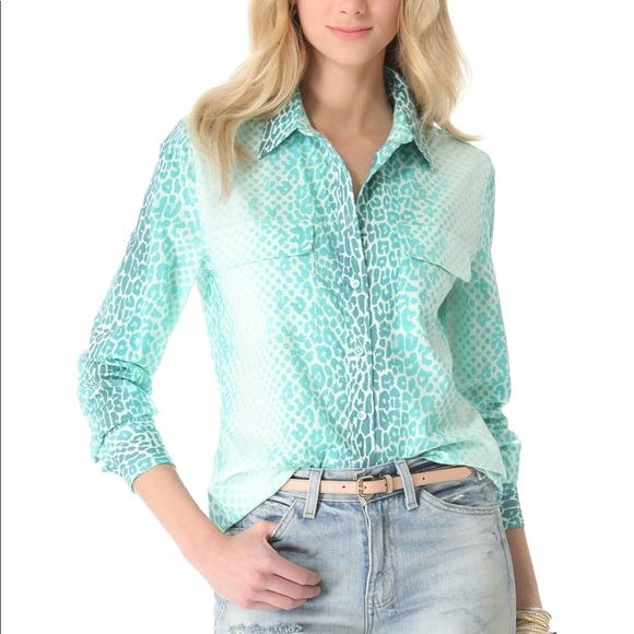 950e0f9bce230c Equipment Aqua Leopard Print Slim Signature Blouse